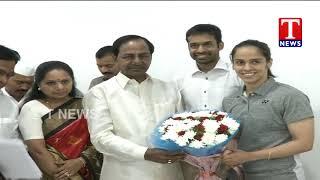 CM KCR Felicitates Commonwealth Medalists At Pragathi Bhavan   Hyderabad  live Telugu
