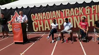 Athletics Canada CEO Rob Guy speaks at 2018 Canadian Track and Field Championships press conference
