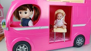 Baby doll bus and Pink camping car toy Kitchen play - 토이몽