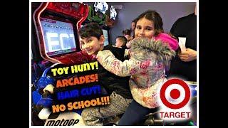 Target Toy Hunt! $10 Challenge! NO SCHOOL VLOG! Batting Cages & Arcade Games!