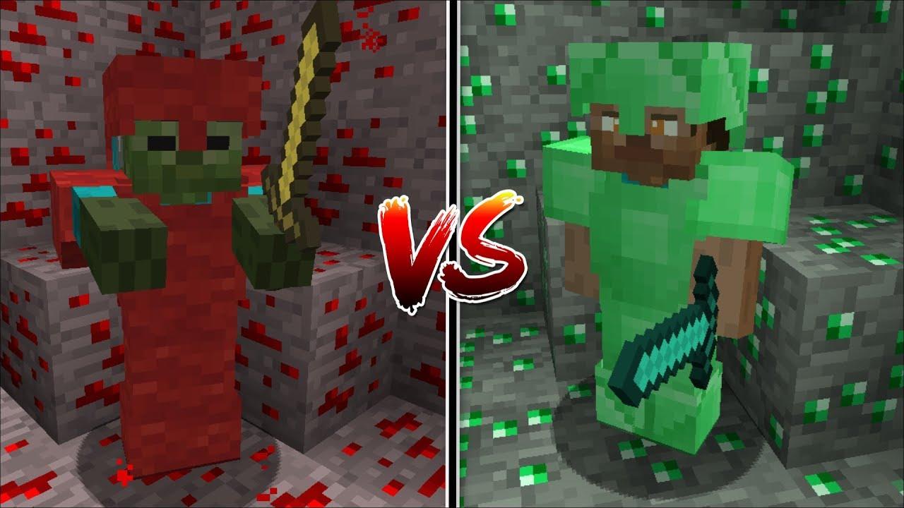 Minecraft NOOB REDSTONE VS PRO EMERALD BATTLE / SURVIVE THE PRO VS NOOB FIGHT !! Minecraft Mods