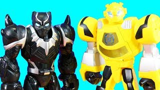Playskool Heroes Rescue Bots Robot Wars Battle With Hulk Spider-man And Black Panther