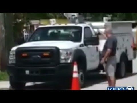 Video Shows Man Shooting AT&T Phone Truck 18 Times While Worker Is Up A Pole!