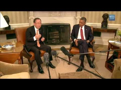 Ban Ki-moon Meets with President Obama at the White House