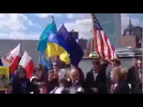 NYC Ukrainian Americans Protest Russia's Attempt To Annex Crimea At Roosevelt Island'sFDR Park
