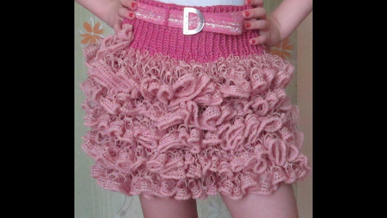 Вязание юбки с ленточной пряжи 887