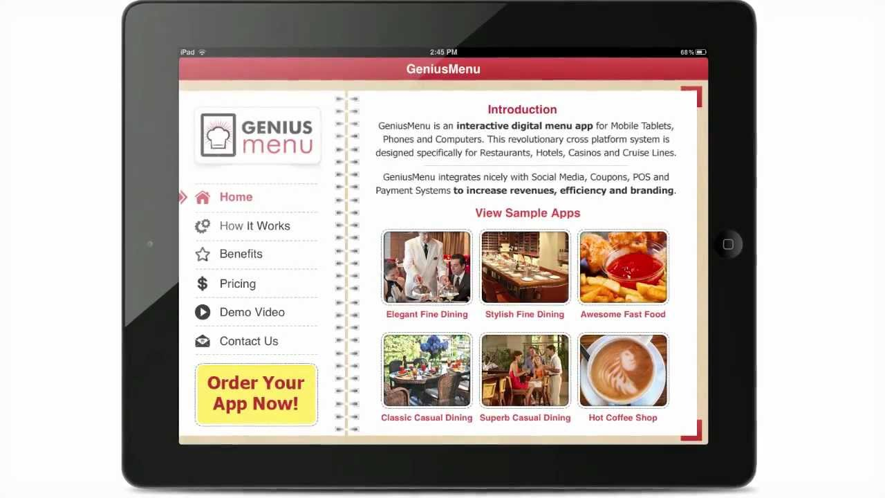 Interactive Digital Menu App For Restaurants Hotelss And Cruise Lines Youtube