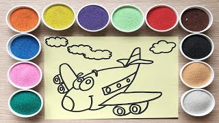 Đồ chơi trẻ em Tô màu tranh cát máy bay màu đỏ - The planes colored sand painting toys (Chim Xinh)