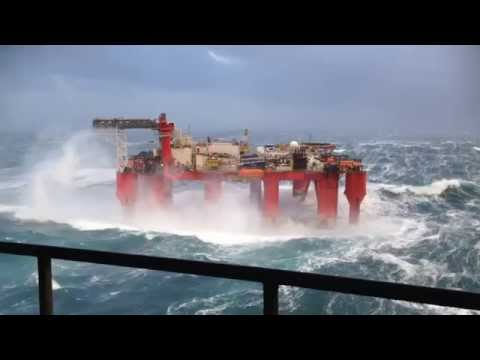 Oil rig in the North Sea battered by huge waves