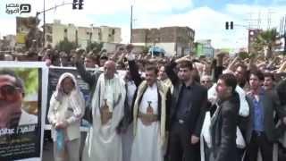 مصر العربية   لحظة تشييع جنازة احد قيادات الحوثيين بصنعاء