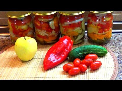 Салат из огурцов в помидорной заливке на зиму рецепт очень вкусный