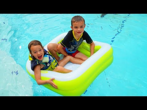 Pool Inside Our Swimming Pool ❤ Kids Floating in a Baby Pool Night Swim