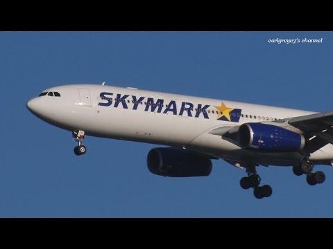 運航最終日 Skymark Airlines (SKY) Airbus A330-300 JA330B 羽田空港 着陸 2015.1.31