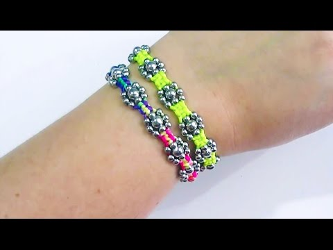 How to make a bracelet with string flowers adjust crafts diy easy 2016