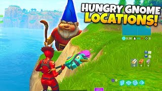 "Fortnite ""ALL HUNGRY GNOME LOCATIONS!"" - Season 4 - (Fortnite Week 8 Challenges)"