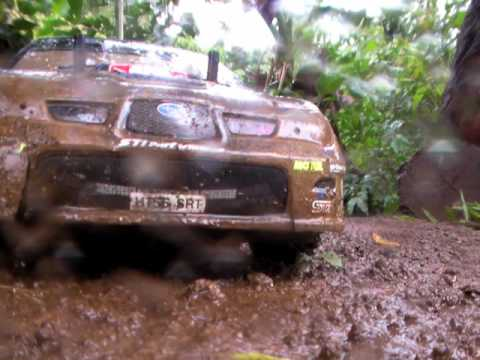 Subaru Impreza - Tamiya DF-03Ra- RC Car - Mud - Dirt - Rally - Crash - Slowmotion