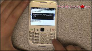 How to enter unlock code on BlackBerry Curve 8520 From Rogers - www.Mobileincanada.com