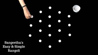 Easy rangoli with 5X3 Dots | Simple Rangoli | Kolam Designs | Muggulu | Easy & Simple Rangoli