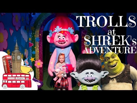 Poppy and Branch Trolls at Shrek's Adventure London - Dreamworks Tour and Toys Shop