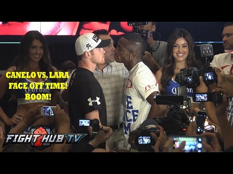 Canelo vs Lara MGM Grand arrival Face Off  interview video
