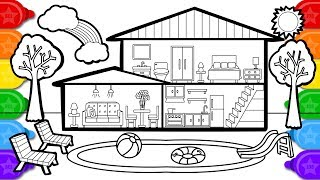 Coloring house with swimming pool colouring page, learn colors coloring and how to draw for kids