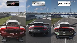 Assetto Corsa vs GT Sport vs Forza 7 - Porsche 911 RSR at Nurburgring Comparison Gameplay