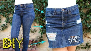 DIY Distressed Denim Skirt from JEANS - NO SEW || Lucykiins