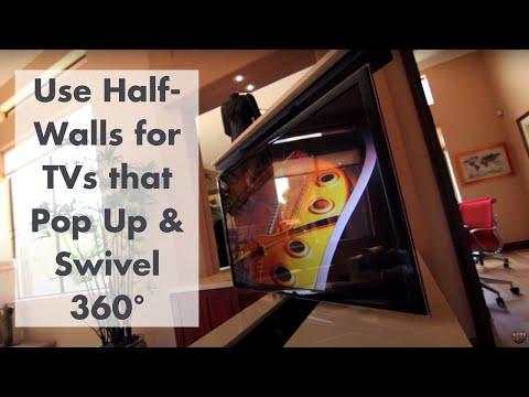 Custom Built-in Hidden TV Cabinet in Luxury Home
