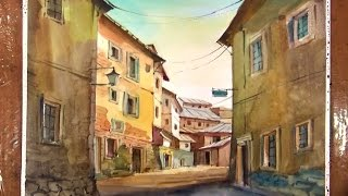 Watercolor Painting the Old village