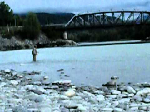 Terrace BC Canada, Salmon fisherman fly fishing