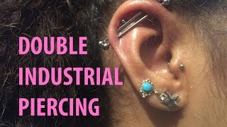 Double industrial piercing. Getting my second scaffold piercing using EMLA  numbing cream.