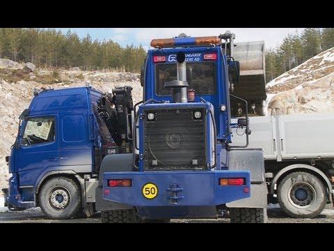 Preparing the road for Timber trucks, Sweden