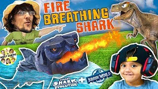 FIRE BREATHING SHARKS & DINOSAURS in REAL LIFE! FGTEEV Hungry Shark Evolution & Jurassic World Alive