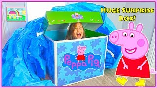 Huge Peppa Pig Surprise Box with Peppa Pig Play Time Toys Inside   Toy Review for Kids Video