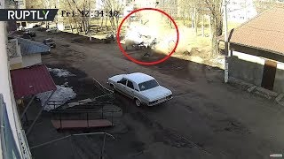 Car explodes as unsuspecting Russian driver enters the vehicle, but escapes with an injury