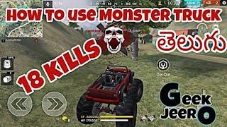 Free Fire Telugu Gameplay | MONSTER TRUCK tips and tricks | Geek Jeero