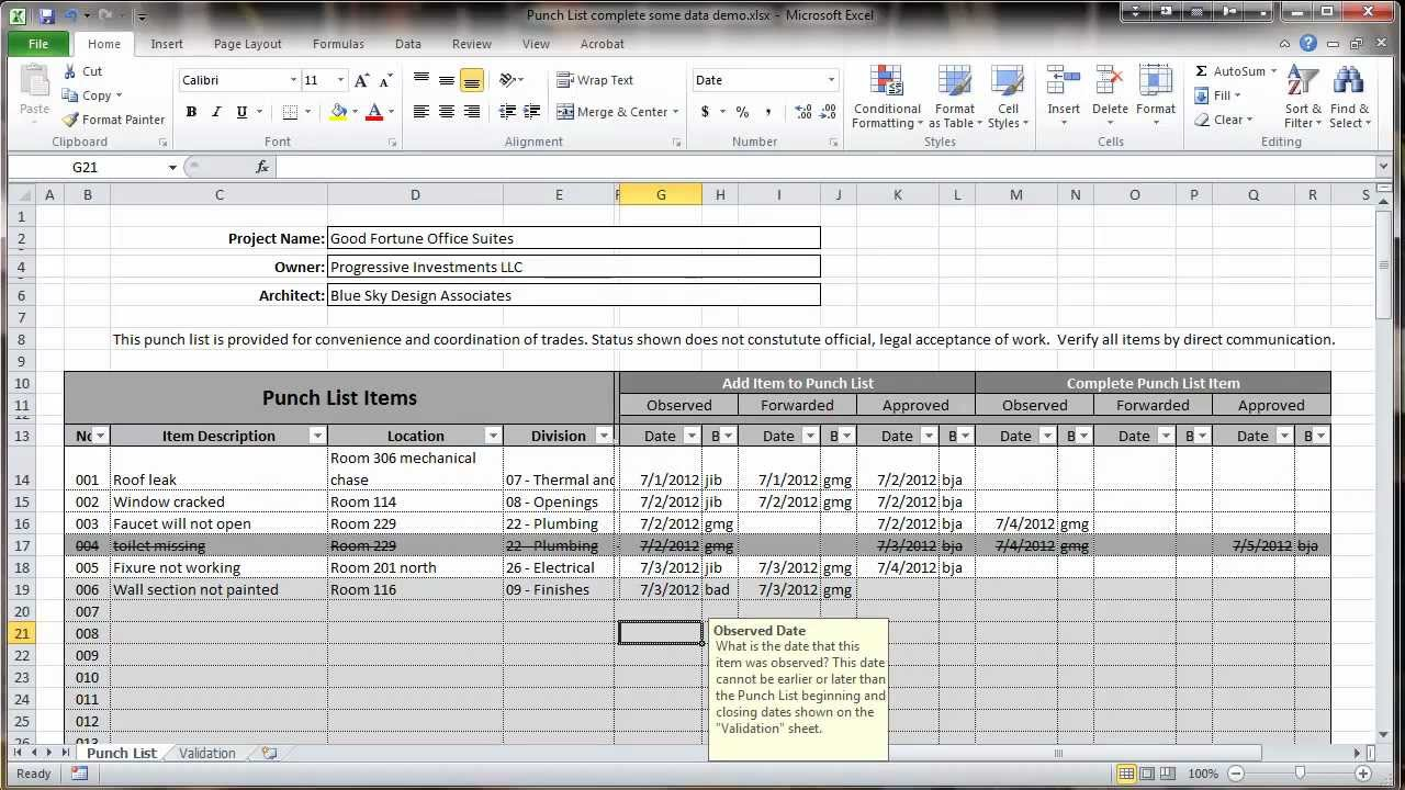 Excel 2010 construction punch list overview youtube for What is a punch out list