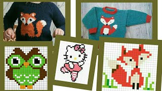 New graph knitting pattern /graph design for sweater / kids sweater design / cross stitch design