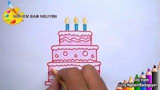 Vẽ Bánh sinh nhật/How to Draw Birthday cake