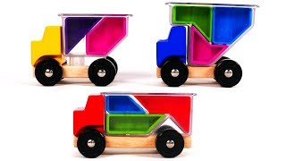 Learn Colors with Trucks and Puzzle Playset for Children