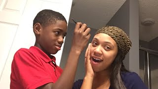 My son does my eyebrows BIG FAIL !!! Super funny