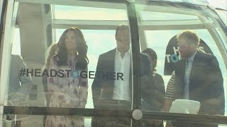 William, Kate and Harry mark World Mental Health Day on London Eye