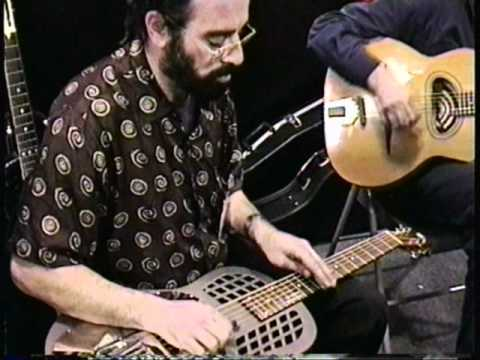 Bob Brozman jamming on slide guitar,Anaheim, 1997.