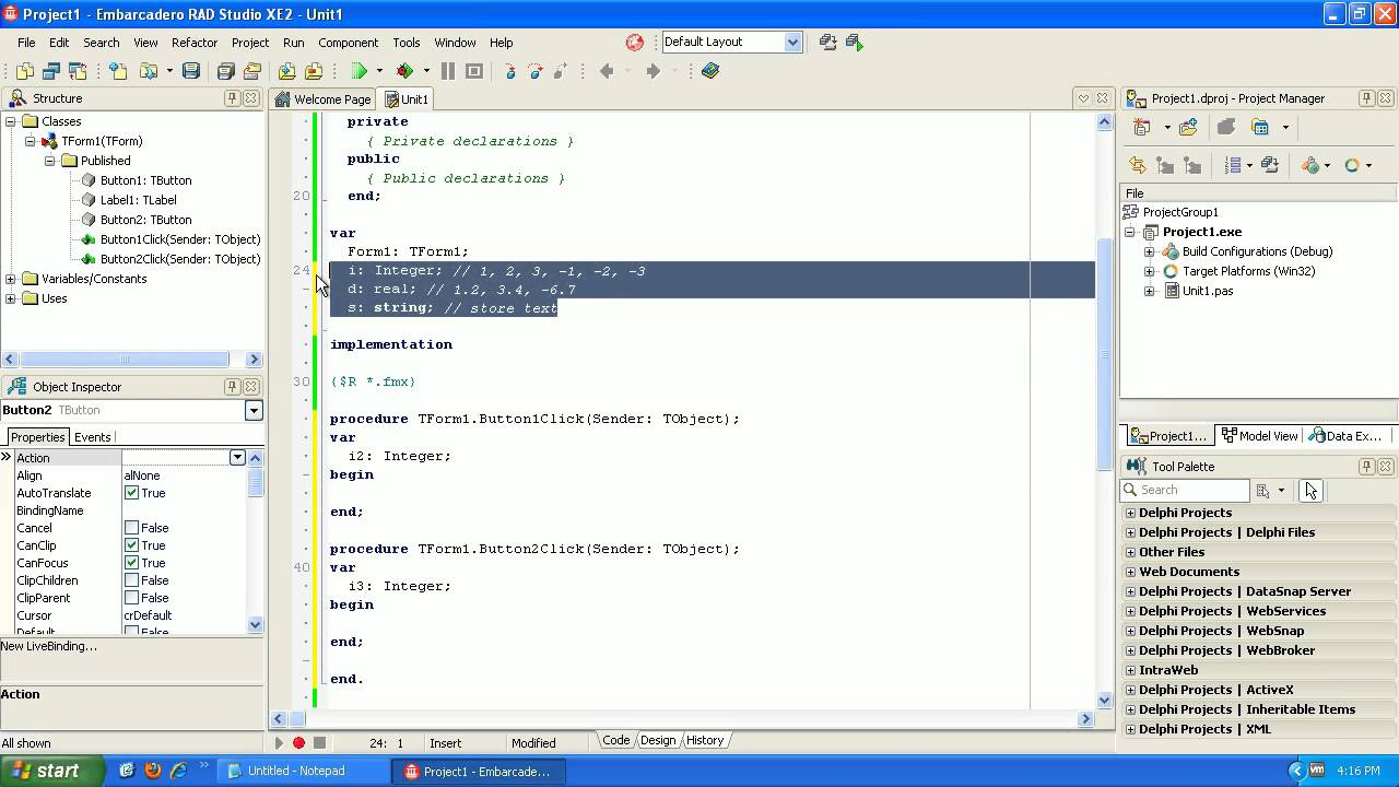 Learning to program Delphi tutorial 2 - Variables - Pascal