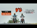 ktm Duke 250 vs Honda CBR 250R| Drag race and exhaust notes| wheelies on duke200.