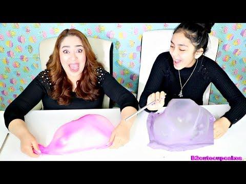 Giant BUBBLES Slime CHALLENGE!! B2cutecupcakes