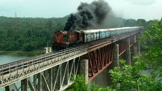 ALCO DIESEL ERUPTS OVER 140 year old mighty Tawa Bridge hauling Sanghamitra Express !! :O