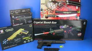 Box of Toys - Guns Toys !!! Crystal Bomb Gun  I Folding gun ,NINJA Weapons