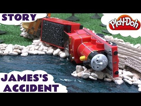 Thomas & Friends Play Doh Story Accident Crash James Rocky Thomas Tank Playdough Diggin Rigs Chuck