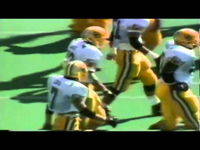 Oregon safety Eric Castle lowers the boom on Cal RB Lindsey Chapman 10-12-1991